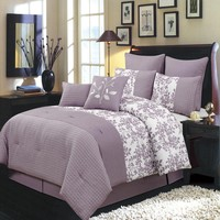Bliss Purple Luxury 8-Piece Comforter Set
