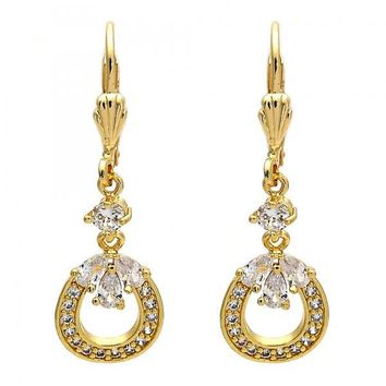Gold Layered Long Earring, Teardrop Design, with Cubic Zirconia and Micro Pave, Gold Tone