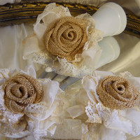"Set of 3 Burlap Rosettes & Lace Cake Toppers, handmade of burlap and ivory lace. Fits a 6"" round."