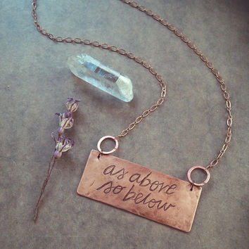 as above, so below • witch necklace - magic jewelry - witchcraft jewelry - etched copper necklace - alchemy occult jewelry