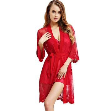 Sexy V Neck Two Pieces Robe Set Luxury Lace Satin Silk Nightgown + Bathrobe Pijamas Mujer Sexy Ladies Nightgowns Hot