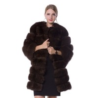 Real fur fox fur coat  design ladies winter really fox fur coat detachable real fur coat