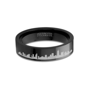 Chicago City Skyline Cityscape Engraved Black Tungsten Ring