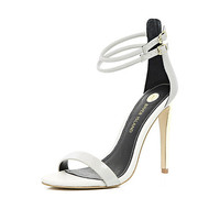Light grey double strap barely there sandals - heels - shoes / boots - women