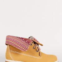 Tribal Fold-Over Lace Up Round Toe Work Boot
