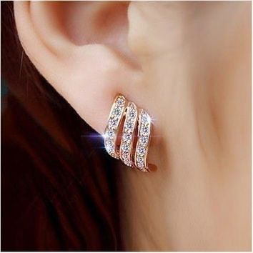 Rose Gold Diamond-studded Personality Stud Earrings for Women