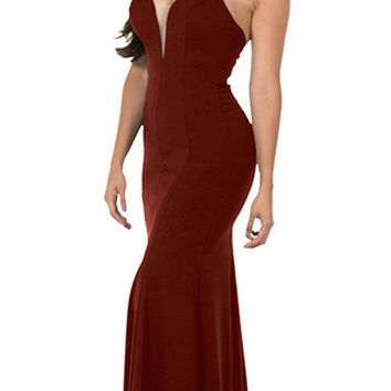 Deep V-Neck Halter Long Prom Dress Burgundy