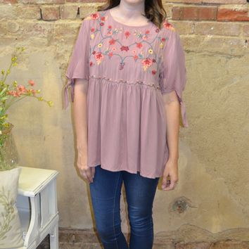 Chasing You Embroidered Top: Mauve