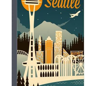 Seattle, Washington - Retro Skyline Art Print by Lantern Press at Art.com