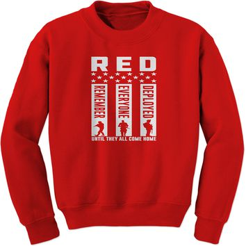 RED Remember Everyone Deployed Adult Crewneck Sweatshirt