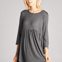 Misty Night Gray Babydoll Tunic
