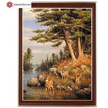 Needlework,embroidery,DIY DMC Cross stitch,animal deer trees pattern 14CT white canvas counted Cross-Stitching home decor crafts