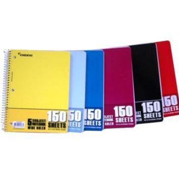Wire Notebook - 150 sheet - 5 subject - Wide Ruled - CASE OF 24