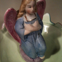 Early 1900's porcelain German Angel statue with wings and blue robes hand-painted and Imported from Germany