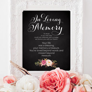 "In Loving Memory Sign - 8 x 10 sign - DIY Printable sign in ""Vintage"" script on chalkboard - PDF and JPG files - Instant Download"