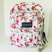 New Jansport Floral Memory White Big Student Backpack / School Book Bag