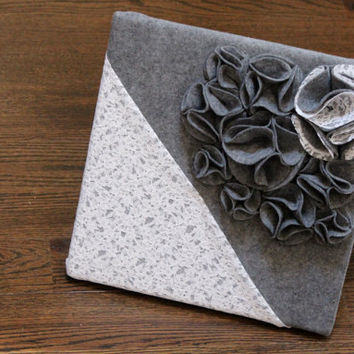 "Gray and White 3D Wall Art Canvas, Felt and Lace 12x12"" Wall Hanging, Nursery Art, Baby Room Art, Wall Decor"