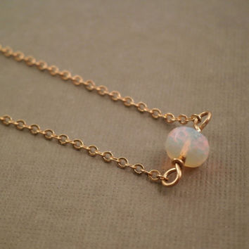 Ethiopian Opal Necklace. Delicate Gold Filled Chain. Simple Dainty Necklace Layer. Solitaire Ethiopian Opal Jewelry. October Birthstone