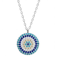 Small Evil Eye Disc Necklace w/ Nano Turquoise - Sterling Silver