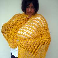 Yellow Lace Wrap Hand Knitted Stole Woman Trendy Shoulder Wrap Chunky Cotton Summer Scarf NEW