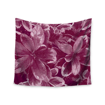"Julia Grifol ""Warm Leaves"" Red Digital Wall Tapestry"