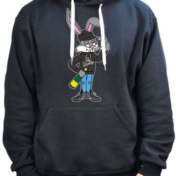 The Stay Winning Thugz Bunny Pullover Hoodie in Black