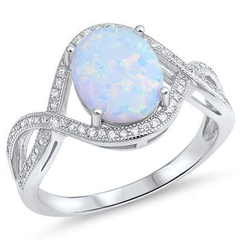 Oval White Lab Opal with Clear CZ Stones in an Infinity Design Sterling Silver Ring
