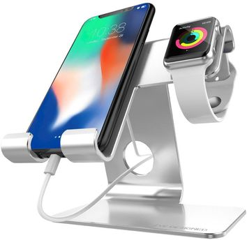 Universal IPhone Stand, ZVE iwatch charger stand and Tablet Stand Dock Holder Cradle with iwatch Cases 42mm,Aluminium Phone Dock for iPhone 7 8 X Plus,iWatch (38mm 42mm),Tablets(Up to 12.9)sliver