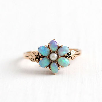 Antique 10k Rosy Yellow Gold Opal & Seed Pearl Flower Cluster Ring - Size 3 3/4 Vintage Late 1800s Victorian Gemstone Fine Floral HB Jewelry