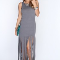 Grey Fringe Hem Sleeveless Casual Summer Maxi Dress