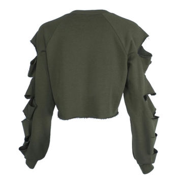 New Womens Long Sleeve Casual Ripped Crop Top Hoodie Sweatshirt ShortJumper Pullover Tops Y09 SM6