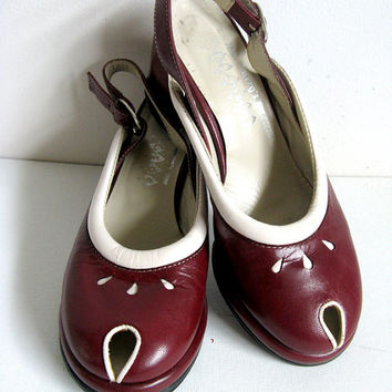 John Fluevog Wingers Wine Two Tone Rockabilly Slingback Peep Toe Shoes Size 6 FREE SHIP Cda and Usa