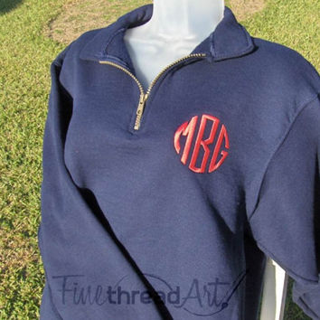 Monogram Quarter Zip Sweatshirt Jacket Ladies with Collar