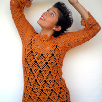 Leaf   Lace Sweater Trendy Orange Hand Crocheted Woman Sweater tunic  NEW