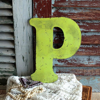 Letter P Initial P Vintage Metal Sign by avintageobsession on etsy