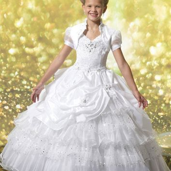 2017 White Red Flower Girl Dresses with Jacket First Holy Communion Dresses for Girls 2017 Pageant Gowns for Wedding Party