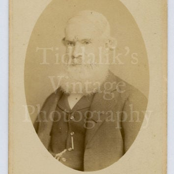 CDV Carte de Visite Photo Old Victorian Man with Big White Beard by Russell & Sons of Littlehampton England
