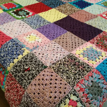 afgan rainbow blanket  granny square bedding crochet photography prop  double bed couch cover sofa throw grandma lap blanket camping