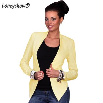 Loneyshow 2018 New Arrival Office Ladies Solid Blazer Feminino Formal Women's Blaser Pocket Collarless Female Women Suit Ladies