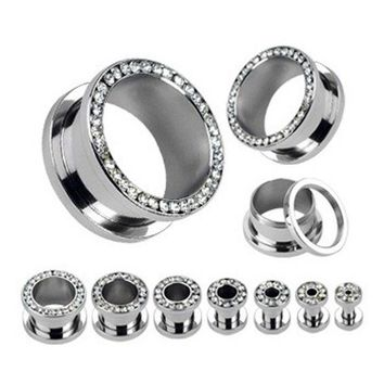 ICIKHY9 Stainless Steel Screw Fit Ear Gauge Plugs Flesh Tunnel Kit Piercing Hollow Expander Body Jewelry