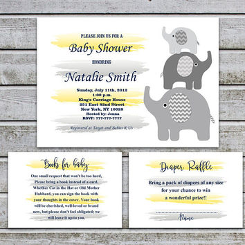 Elephant Baby Shower Invitation Diaper Raffle Book Request Gender Neutral Baby Shower for Girl Boy Yellow Navy Blue Instant Download (87-2B)