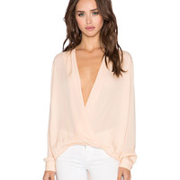 Wrap V-Neck Long Sleeves Asymmetric Blouse