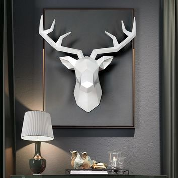 3D Deer Head Sculpture 50x49x20cm Murals Home Wall Hanging Elk Statue Handmade Ornament Artwork Craft Deer Head Sculpture