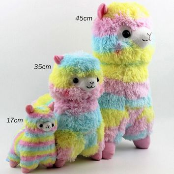 17cm/35cm/45cm Rainbow Alpaca Plush Toy Japanese Alpacasso Baby Plush Stuffed Animals Alpaca Gifts