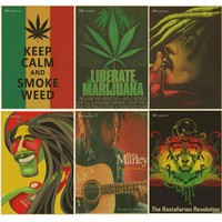 Retro poster keep calm and smoke weed poster Bob marley/Jamaican reggae kraft brown paper  vintage posters bar room decor