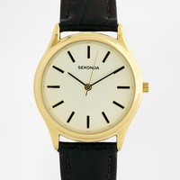 Sekonda Black Leather Strap Watch With Gold Detail 3956