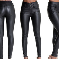 Skinny leather jeans high waist full length black trousers pockets pants casual plus size  for women ladies