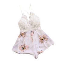 New Shorts Female Women Jumpsuit Sexy Floral Cross Backless Strap Overalls  V Neck Rompers For Women