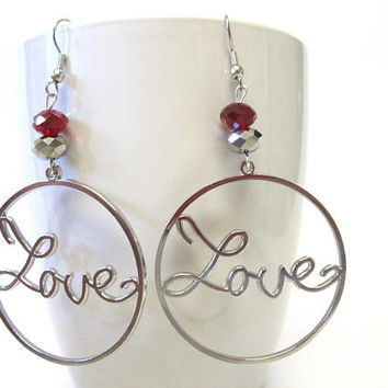 Silver Love Hoop Earrings