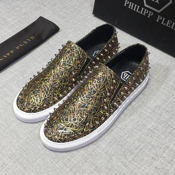 PHILIPP PLEIN Leather Low-Top Black White Metal Gold Studs Sneakers - Best Deal Online